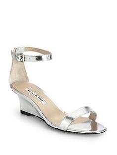 GABRIELLE'S AMAZING FANTASY CLOSET | Manolo Blahnik - Metallic Leather Ankle-Strap Wedge Sandals |