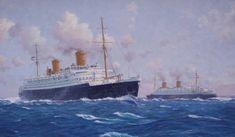 Bremen (left) passing Europa at sea - Norddeutscher-Lloyd Line - Stephen Card artist