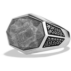 David Yurman Meteorite Signet Ring with Black Diamonds ($1,750) ❤ liked on Polyvore featuring men's fashion, men's jewelry, men's rings, rings, jewelry and silver
