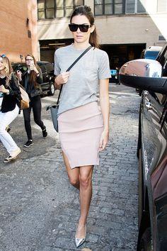 Kendall Jenner // flat top sunglasses, grey tee, pale pink skit & metallic silver heels #style #fashion #model #celebrity