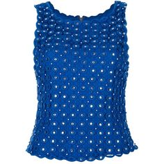 ALICE+OLIVIA embellished vest top (1.780 RON) ❤ liked on Polyvore featuring tops, blue, blouses, blusas, shirts, round neck shirt, blue shirt, zipper back shirt, blue sequin shirt and sequin top