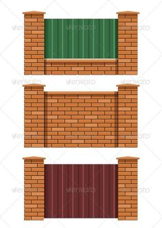 Buy Brick Fence by Aleksangel on GraphicRiver. brick fence set of vector illustration Transparent objects and opacity masks used for shadows and lights drawing Brick Fence, Front Yard Fence, Wooden Fence, Brick Wall, Boundry Wall, Fence Wall Design, Brick Planter, Brick Projects, Compound Wall