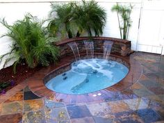 Multi-colour tile, inground pool spa #geremiapools.com