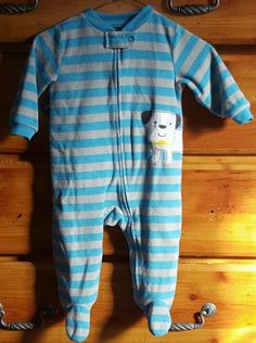 Carters Sleeper Boys 9 Month Blue Grey Striped Dog  Zipper Footed Pajama Puppy #Carters #OnePiece