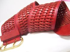 Red Belt Genuine Woven Wide Leather Belt Women's by by cachecastle