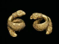 Pair of ear spirals with ram's heads, second half of 5th century BC, Greek