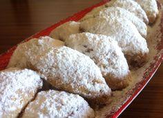 Walnut-filled, Crescent -Shaped Pastries (Skaltsounia) - My Greek Dish Greek Sweets, Greek Desserts, Greek Recipes, Small Desserts, Italian Recipes, Greek Cookies, Italian Cookies, Greek Pastries, Cookie Recipes