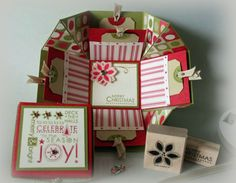 Printable tutorial for an exploding box card with pockets and removable tags. http://www.scor-pal.com/dec_magazine/index_files/Page327.htm