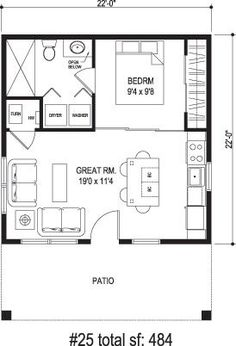 One Bedroom House Floor Plans 400 sq ft apartment floor plan - google search | 400 sq ft
