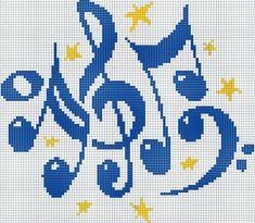 note musicale, chiave di violino, stelline - punto croce  - cross Stitch - Kreuzstich - Punto de Cruz Cross Stitch Music, Cross Stitch Alphabet, Cross Stitch Baby, Cross Stitching, Cross Stitch Embroidery, Embroidery Patterns, Cross Stitch Designs, Cross Stitch Patterns, C2c