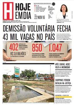Capa do dia 22/11/2016 #HojeEmDia #Jornal #Notícias #News #Newspaper