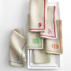 OBSESSED. Linen Satin Stitch Dinner Napkins | Mark and Graham