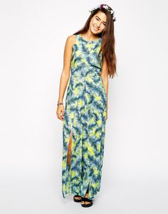 Image 1 of AX Paris Jumpsuit with Thigh Splits in Palm Print
