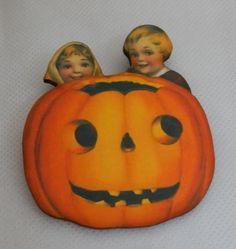 Vintage Style Children w/ Pumpkin Halloween Brooch or Scarf Pin Wood NEW Fashion #Handmade