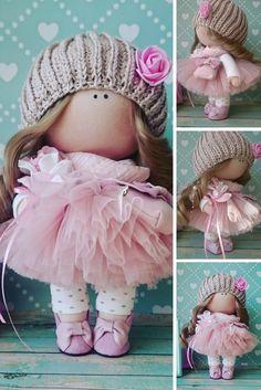 Tilda doll Bambole di stoffa Rag doll Fabric doll Handmade doll Nursery doll Muñecas Pink doll Cloth doll Baby doll Textile doll by Elvira