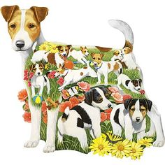 Romping Russells Dog Breed 300 Large Piece Shaped Jigsaw Puzzle