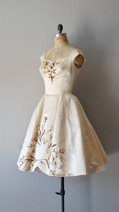 1950s wedding dress / silk 50s dress / beaded wedding dress / An Impossible Dream. $945.00, via Etsy.