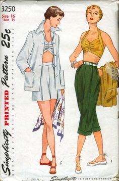 Simplicity 3250 ©1950 Jacket, Bra, Shorts, and Pedal-Pushers
