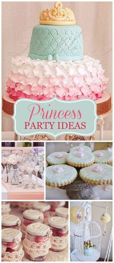 A gorgeous princess girl birthday party with lemon pie, cheesecake and lovely cookies and cake! See more party planning ideas at CatchMyParty.com!