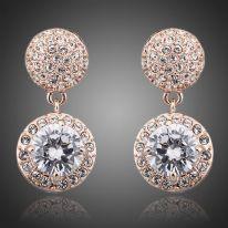 High Quality Fashion 18k Rose Gold 2 Pieces Cubic Zirconia and Stellux Austrian Rhinestone Wedding Bridal Earrings