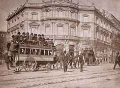 Madrid sin prisas: EL MARQUÉS DE SALAMANCA- Tranvía dirección Barrio de Salamanca circulando por la actual Plaza de Cibeles año 1880