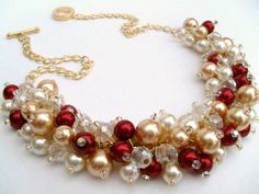 Reserved for Amber - Pearl Beaded Necklace, Red and Ivory Bridesmaid Jewelry, Cluster Necklace, Bridesmaid Gift, Bridesmaid Necklace via Etsy