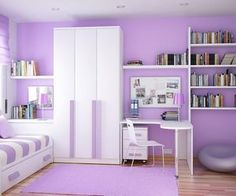 Contemporary Purple Bedroom With Small Bed And Under Drawer Bed Featuring Simple Dresser Table With Wall Mounted Mirror Combine L Shaped Study Table And White Sleek Study Chair Design Suitable For Girl's of Sweet Purple Bedrooms Decor Ideas For Girl's Pur