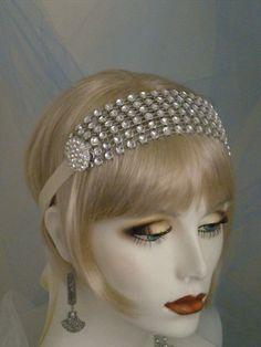1920's Headpiece, Flapper Headband, Gatsby, Old Hollywood, Vintage Style Headband,Ivory, Silver, Crystal, Bridesmaids, no. 142 on Etsy, $39.99