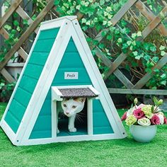 Outdoor Garden Cat Shelter For Feral Cat House Condo Green Bed Escape Door New #Petsfit