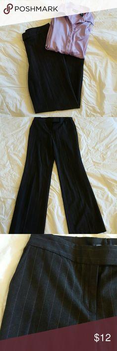 """Ann Taylor Dress Pant Ann Taylor striped Dress Pant. Grayish black with purple stripes. Size 2. 48% Polyester, 48% Rayon, and 4% Spandex.  32"""" inseam. Ann Taylor Pants"""
