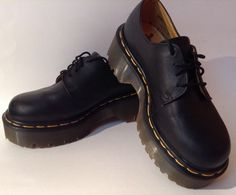 "Dr. Martens Women's Shoes - Black Leather Oxfords with 1"" Platform, 2"" Heel. Size 5 US EUC #eBay #Shoes"