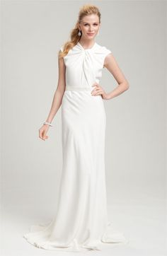Carmen Marc Valvo Twist Neck Crepe Gown | Nordstrom - obviously not my size...but I like the classy look