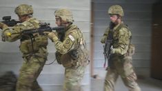 U.S. Soldiers assigned to Bravo Company, 3rd Battalion, 21st Infantry Regiment, 1st Stryker Brigade Combat Team, 25th Infantry Division clear rooms as part of an urban terrain tactical event during exercise at the Camp Fuji MOUT Training site as part of exercise Orient Shield 2017 at Camp Fuji, Japan.