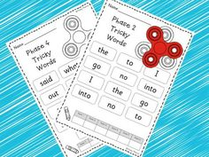 Why not take advantage of the latest craze to practice those tricky words with this resource. This pack has a sheet for each Phases Tricky Words Place the fidget spinner on the picture and let it spin. Adult or partner counts how. Literacy Games, Phonics Games, Learning Activities, Teaching Resources, Sight Word Worksheets, Sight Word Games, Sight Words, Fidgit Spinner