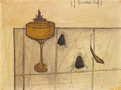 Tajan - Bernard Buffet (1928-1999) Nature morte à la lampe et aux oursins,1949. Tajan Art Modern Auction June 28