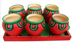 Buy terracotta & ceramic handmade crafts for home decor. Get wide range of terracotta bell, pen stand, bowls, mug, pots with Handicraft Shop India. Kalash Decoration, Diya Decoration Ideas, Diy Diwali Decorations, Decor Ideas, Pottery Painting Designs, Pottery Designs, Pottery Art, Bottle Painting, Bottle Art