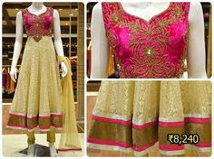 Make a strong fashion statement by dressing up in this cream and rani pink color anarkali suit crafted in net and velvet fabric.
