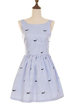 Whale Prints Striped Cute Retro Sundress