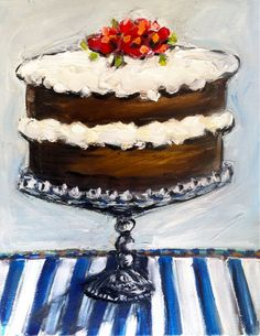 Whimsical Cake Painting on Canvas on Etsy, $88.00