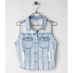 Miss Me Denim Vest ($69) ❤ liked on Polyvore featuring outerwear, vests, vest, blue, blue vest, vest waistcoat, crochet vest, denim vest and macrame vest