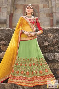 Embrace your charm with wedding season special collection of medium sea green yellow net marriage wear lehenga choli. Shop this most alluring heavy chaniya choli with affordable prices from our online women clothing store. #lehengacholi, #lehengastylesaree, #chaniyacholi, #ghaghracholi, #weddingbridalcholi, #discountoffer, #festivalcholi, #marriagewear, #designerlehengacholiMore Product: http://www.pavitraa.in/store/designer-collection/ Any Query: Call Us:+91-7698234040