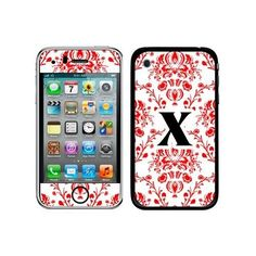 Graphics and More Protective Skin Sticker Case for iPhone 3G 3GS - Non-Retail Packaging - Letter X initial Damask Elegant Red, Black and White