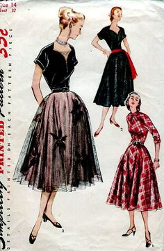 Sewing Patterns Vintage Out of Print Retro,Over 7000 ,Vogue Simplicity McCall's - Simplicity 3747 Retro 1950's Tulle Dress 32