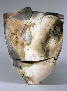 Paul Soldner | Vessel, 86-19, 1986.  Low-fire salt, unglazed, with slips, wheel thrown and altered.