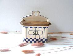 Vintage french ceramic salt box Antique 1920s  by CabArtVintage,