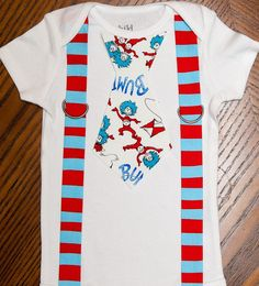 Thing 1 and Thing 2 Stripes Tie and Suspenders Onesie by rebasheba, $18.00