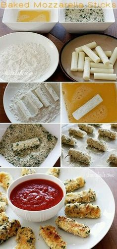 Baked not fried!! Mozzarella sticks! Roll in flour, egg wash, then a mix of spices of your choice! (I would try bread crumbs, some Parmesan cheese, Some pepper, garlic and some Italian spices!) Serve with your favorite sauce! (An Alfredo sauce would be a different twist on it!) yumm! :-)