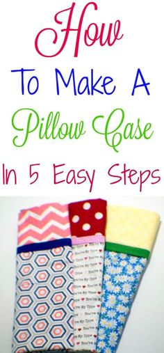 to Make a Pillow Case in 5 Easy Steps How to make a pillow case in 5 easy steps. A complete photo tutorial. How to make a pillow case in 5 easy steps. A complete photo tutorial. Sewing Hacks, Sewing Tutorials, Sewing Crafts, Sewing Tips, Sewing Basics, Pillos, Pillowcase Pattern, Pillowcase Tutorial, Sewing Pillows