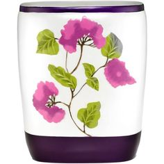 Popular Bath Jasmine Plum Bath Collection Bathroom Waste Basket, Purple