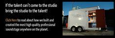 Mobile recording studio Los Angeles with mobile sound booth and sound stage. Compact recording studio and mobile sound stage.